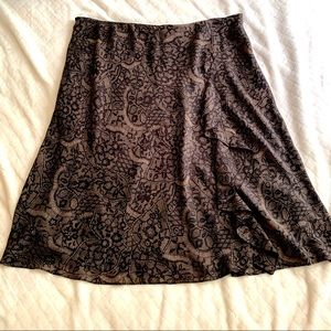 Brown Black Poly Flare Skirt Front Ruffle Elastic